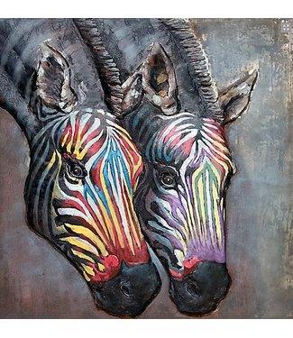 3D Art Zebra paar - Metalen 3D schilderij