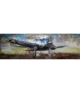3D Art Gevechtsvliegtuig USA - Metalen 3D schilderij