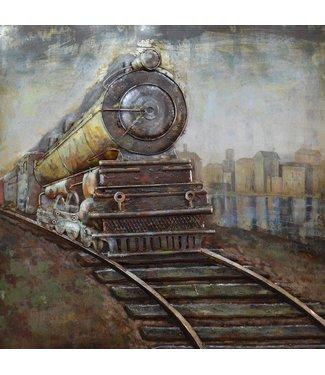 3D Art Metalen 3D schilderij - Locomotief