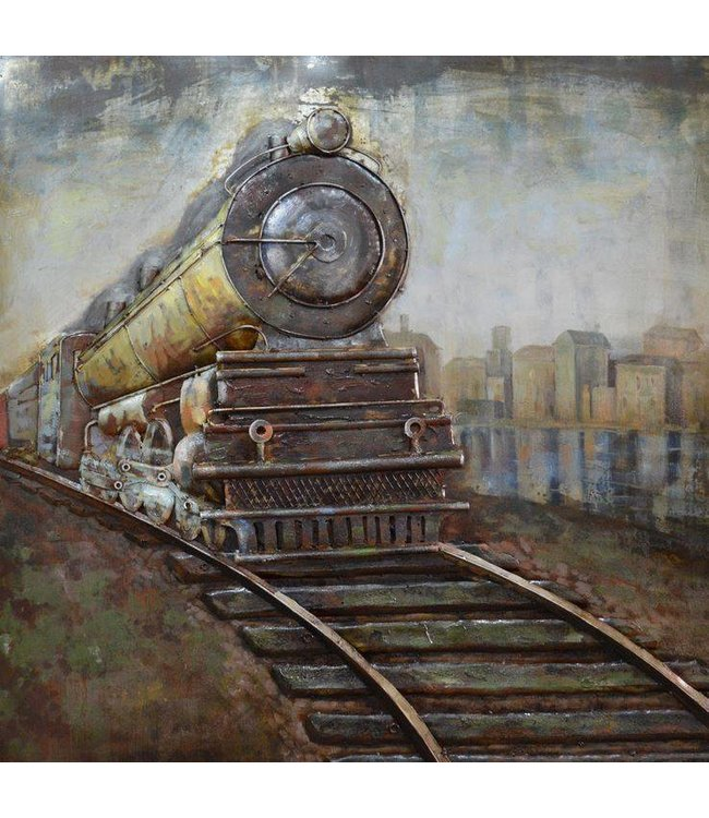 Metalen 3d Schilderij.Metalen 3d Schilderij Locomotief