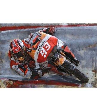3D Art Motorrace Marc Marquez - Metalen 3D schilderij