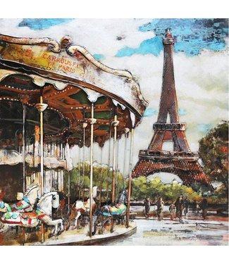3D Art Paris Carrousel - Metalen 3D schilderij