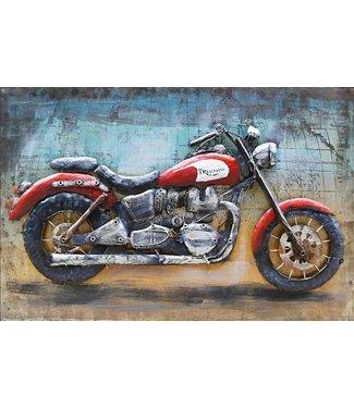 3D Art Triumph Red Motor - Metalen 3D schilderij