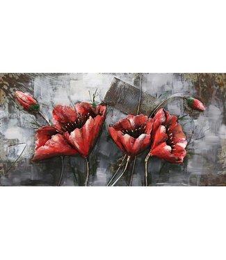 3D Art Red Flowers - Metalen 3D schilderij