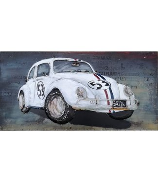 3D Art Metalen 3D schilderij - Herbie VW Love Bug