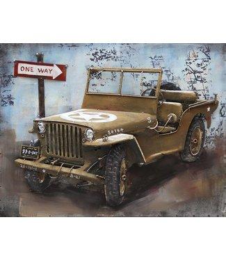 3D Art Metalen 3D schilderij - U.S. Army Jeep