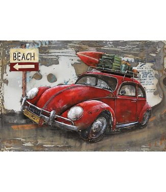 3D Art Beetle to the Beach - Metalen 3D schilderij