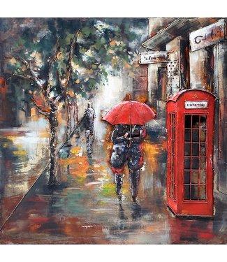 3D Art London in the Rain - Metalen 3D schilderij