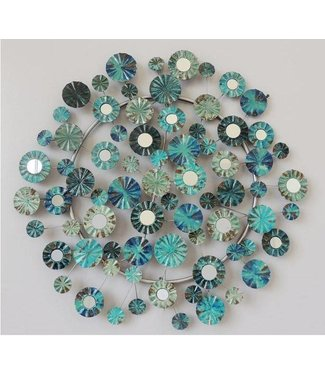 Wand decoratie Metalen 3D wanddecoratie - Blue Flowers