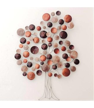 Wand decoratie Metalen 3D wanddecoratie - Warm Red Tree