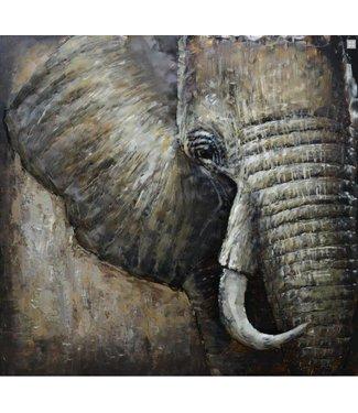 3D Art Olifant Out of Africa - Metaal 3D schilderij