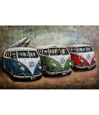 3D Art VW busjes - The old timers - Metalen 3D schilderij