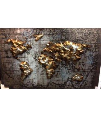 3D Art De Wereldkaart - Metalen 3D schilderij