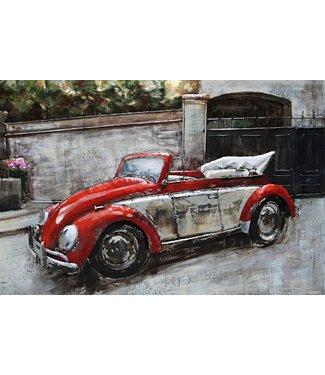 3D Art VW Cabrio Old Timer - Metalen 3D schilderij