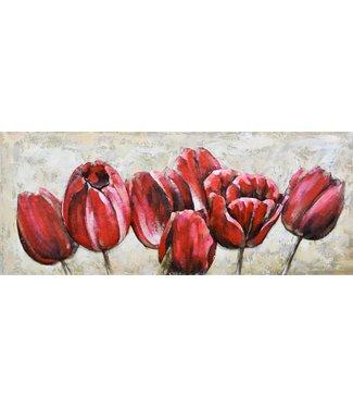 3D Art Rode Tulpen - Metalen 3D schilderij