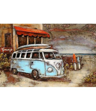 3D Art VW Beach Surfing - Metalen 3D schilderij