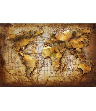 3D Art Wereldkaart Bruin / Oker - Metalen 3D schilderij