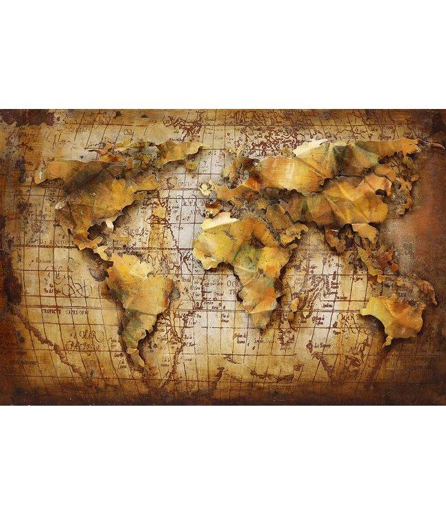 Wanddecoratie Wereldkaart Metaal.Wereldkaart Bruin Oker Metalen 3d Schilderij De Woonhoek