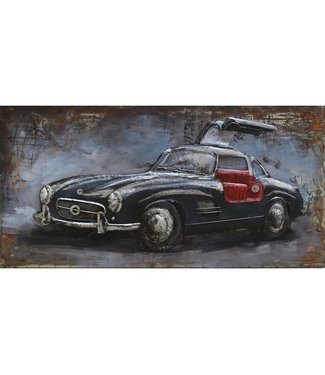 3D Art Mercedes Benz 'Gullwing' - Metalen 3D schilderij
