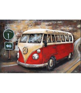 3D Art Metalen 3D schilderij - Volkswagen Bus Rood
