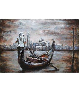 3D Art Gondel varen in Venetië