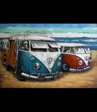 3D Art Holidays - Twee VW busjes op het strand