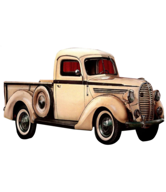 Wand decoratie Witte Pick-Up Old Timer  - Metalen 3D wanddecoratie