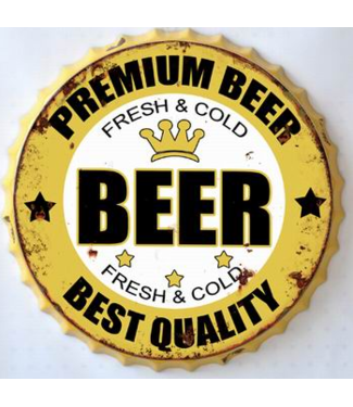 Wand decoratie Metalen 3D wanddecoratie - Kroonkurk Premium Beer