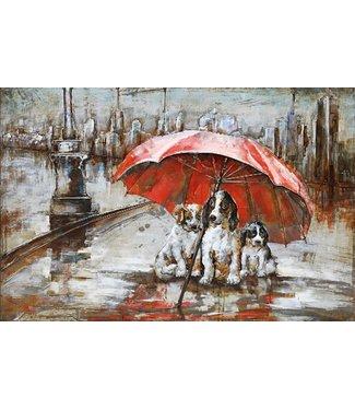 3D Art Three Dogs in the Rain - Metaal 3D schilderij