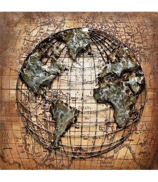 3D Art The World - Metalen 3D schilderij