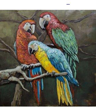 3D Art Papagaaien - Metalen 3D schilderij
