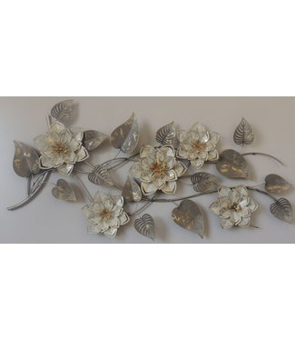 Wand deco White Golden Flowers - Metalen wand decoratie
