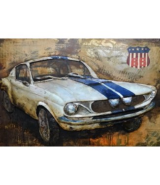 3D Art Ford Mustang Bohemia Rally - Metalen 3D schilderij