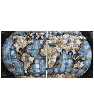 3D Art Wereldbol - Metalen 3D schilderijen