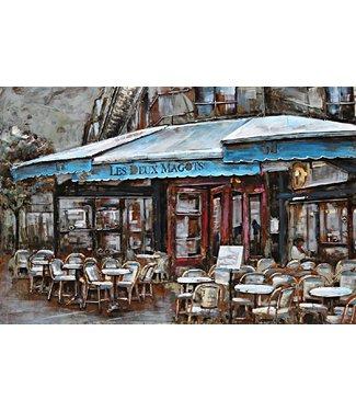 3D Art Metalen 3D schilderij - Restaurant Les Deux Magots