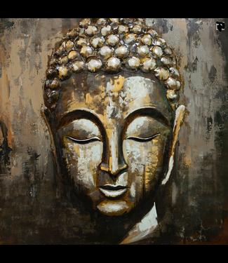 3D Art Boeddha - Metalen 3 D  schilderij