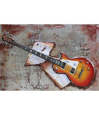 3D Art Gibson elektrische gitaar - Metalen 3D schilderij