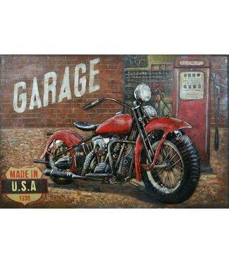 Home Metalen 3D schilderij - Motor Panhead Garage