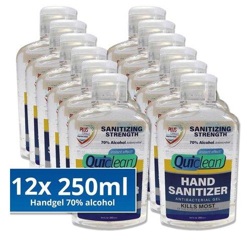 Quiclean Desinfektionsmittel Handgel 70% Alkohol - 12X250ml