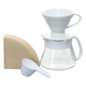 Hario Hario V60 Slow coffee keramische cadeauset Wit
