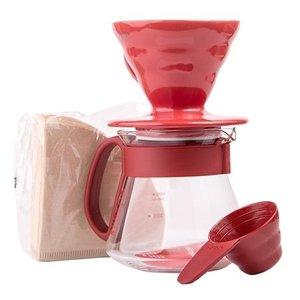 Hario Hario V60 Slow coffee keramische cadeauset Rood