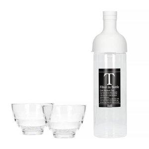 Hario Hario Filter-In Bottle Pale Grey + Yunomi Tea Glass Set - FIHU-2012-PGR-EX