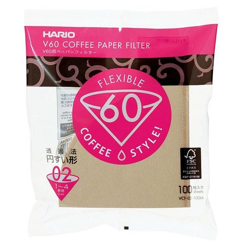 Hario Hario Misarashi brown paper filters - V60-02 - 100 pieces VCF-02-100M