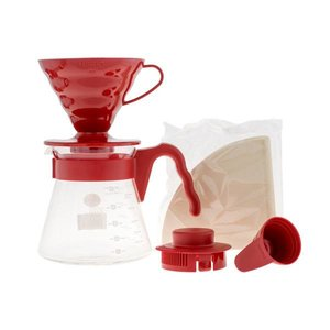 Hario Hario V60 Opgiet set Rood - dripper + kannetje + filters - VCSD-02r