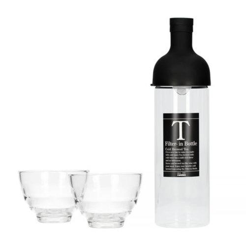 Hario Hario Filter in Bottle & Yunomi tea glass set black - fihu-2012-ex-b