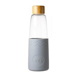 SOL Sol - cool grey glazen fles (incl reinigingsborstel en tas)