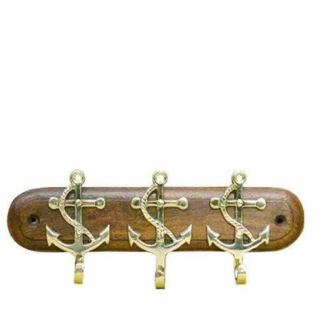 Sleutelrek - 3 Ankerhaken - Messing