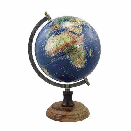 Globe - Messing & Hout - Blauw - Ø 20 cm