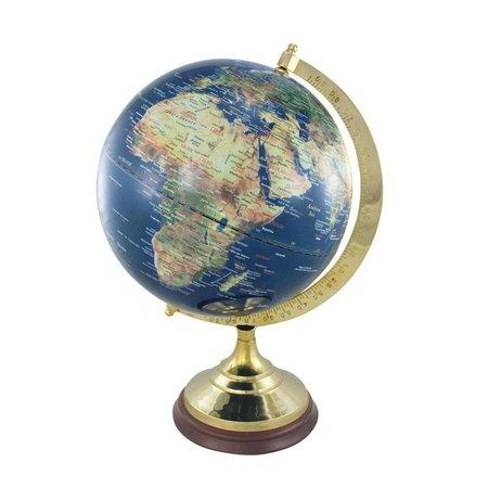 Globe - Messing & Hout - Blauw -Ø 30 cm