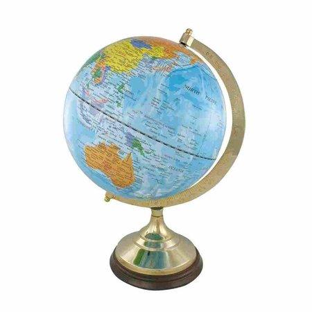 Globe - Messing & Hout - Licht Blauw -Ø 30 cm